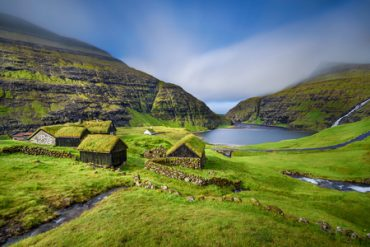 46906671 - village of saksun located on the island of streymoy, faroe islands, denmark. long exposure.