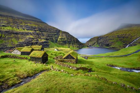 46906671 - village of saksun located on the island of streymoy, faroe islands, denmark. long exposure.
