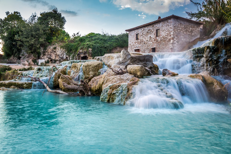 35701901 - natural spa with waterfalls in tuscany, italy
