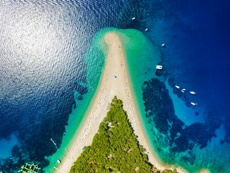 73966208 - aerial view of zlatni rat beach in bol, island brac, croatia